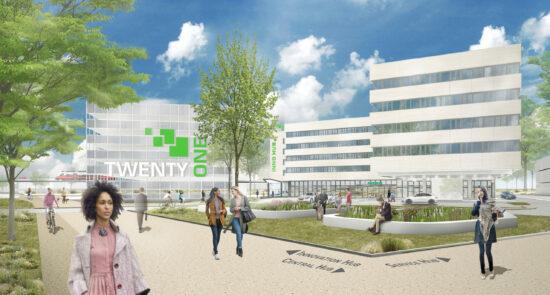 Read more about the article Hier läuft alles nach Plan: Die Dachgleiche für den Innovation Hub wurde im September 2021 erreicht!